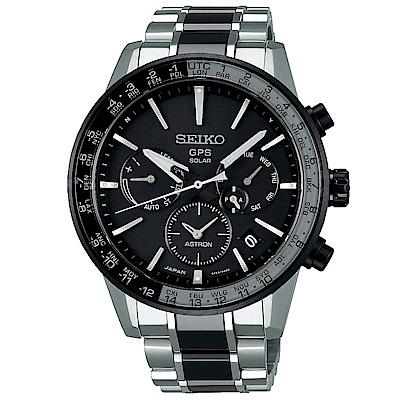 SEIKO 精工ASTRON雙時區GPS定位鈦金錶SSH011J1-黑銀/43mm