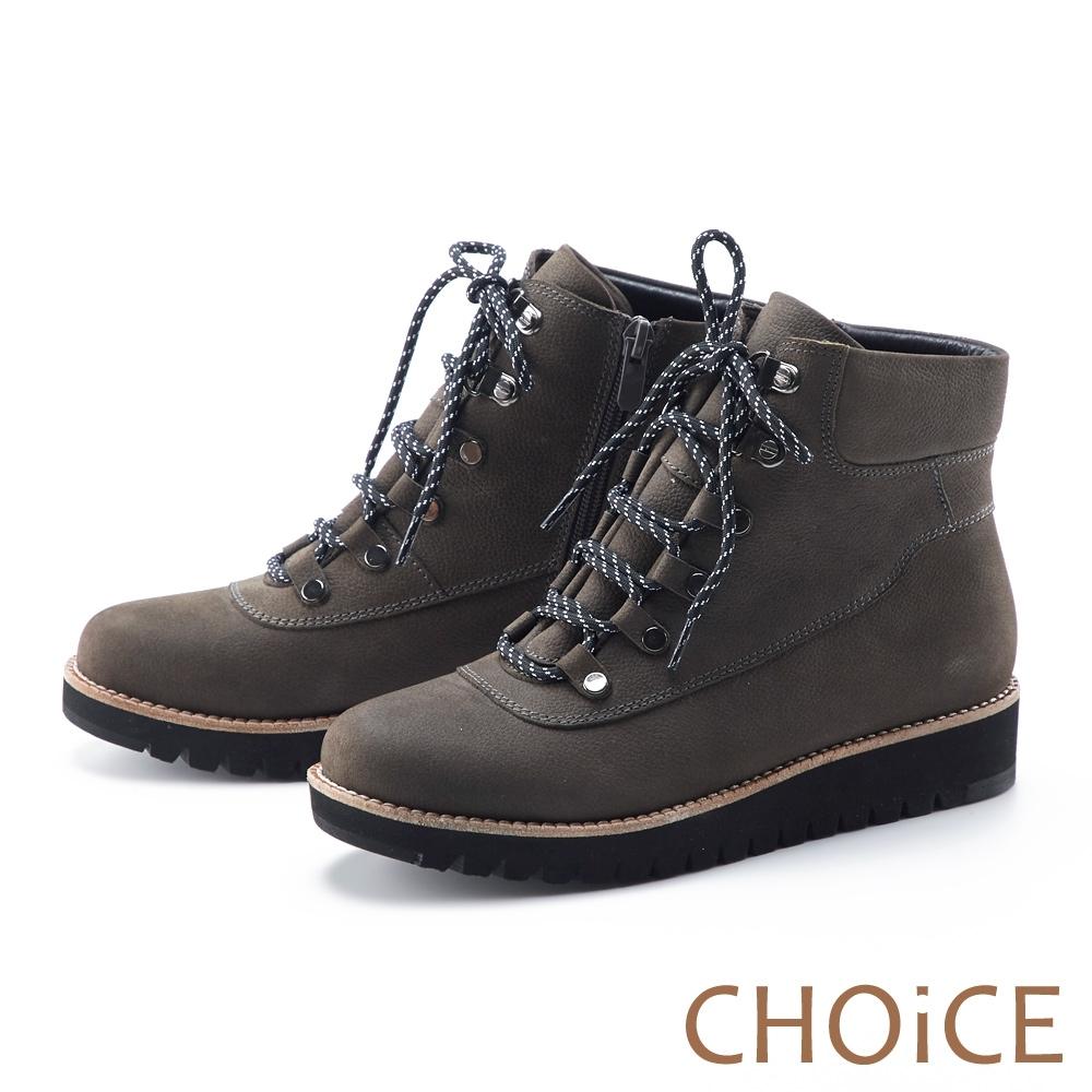 CHOiCE 荔枝紋真皮綁帶帥氣 女 短靴 灰色