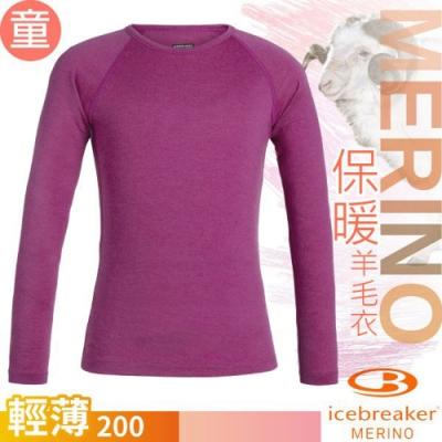 Icebreaker 兒童新款 200 Oasis美麗諾羊毛輕薄款長袖圓領上衣_桃紅