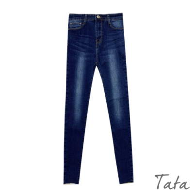 水洗刷色不收邊牛仔褲 TATA-(S~L)