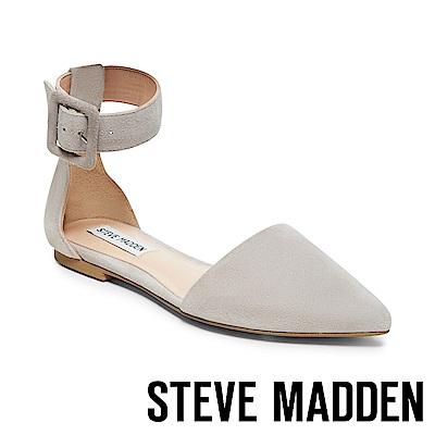 STEVE MADDEN-JUNIOR經典扣飾踝帶尖頭平底鞋-絨灰