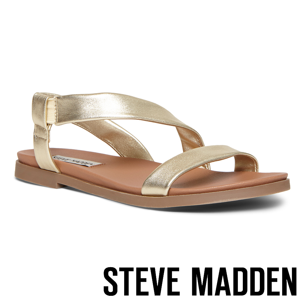 STEVE MADDEN DESSIE 寬版真羊皮透氣涼鞋-金色