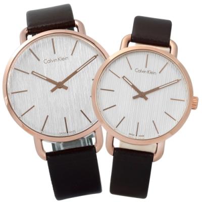 CK EVEN 沉靜雅緻岩紋皮革手錶-銀白x玫瑰金框x深褐/42mm+36mm