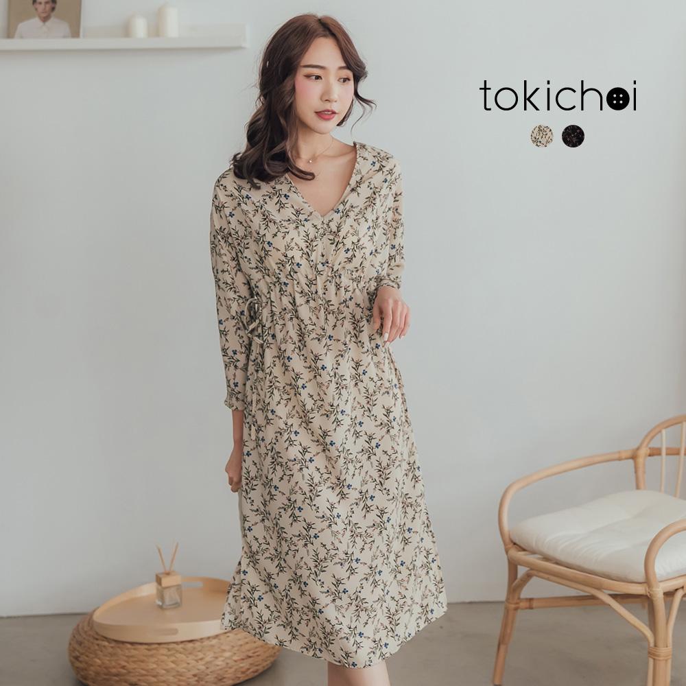 東京著衣-氣質美感大V領腰部抽繩花洋裝(共兩色)