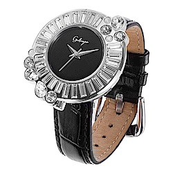 Galtiscopio迦堤  閃轉浪漫系列幾何手錶-黑/36mm