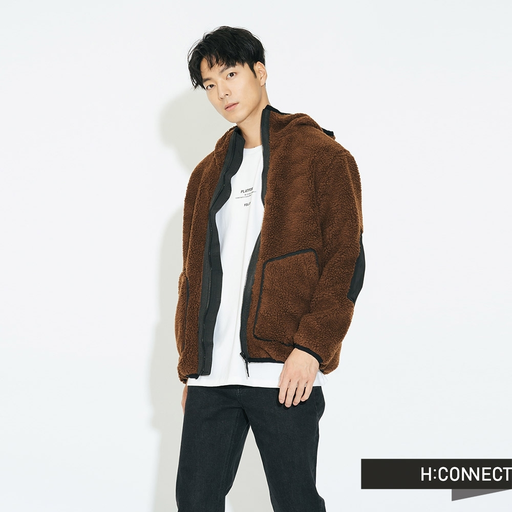 H:CONNECT 韓國品牌 男裝 - 造型補丁毛呢連帽外套 - 棕