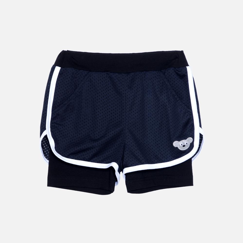 WHY AND 1/2 假兩件運動透氣網短褲 多色可選 5Y ~ 10Y (黑色)