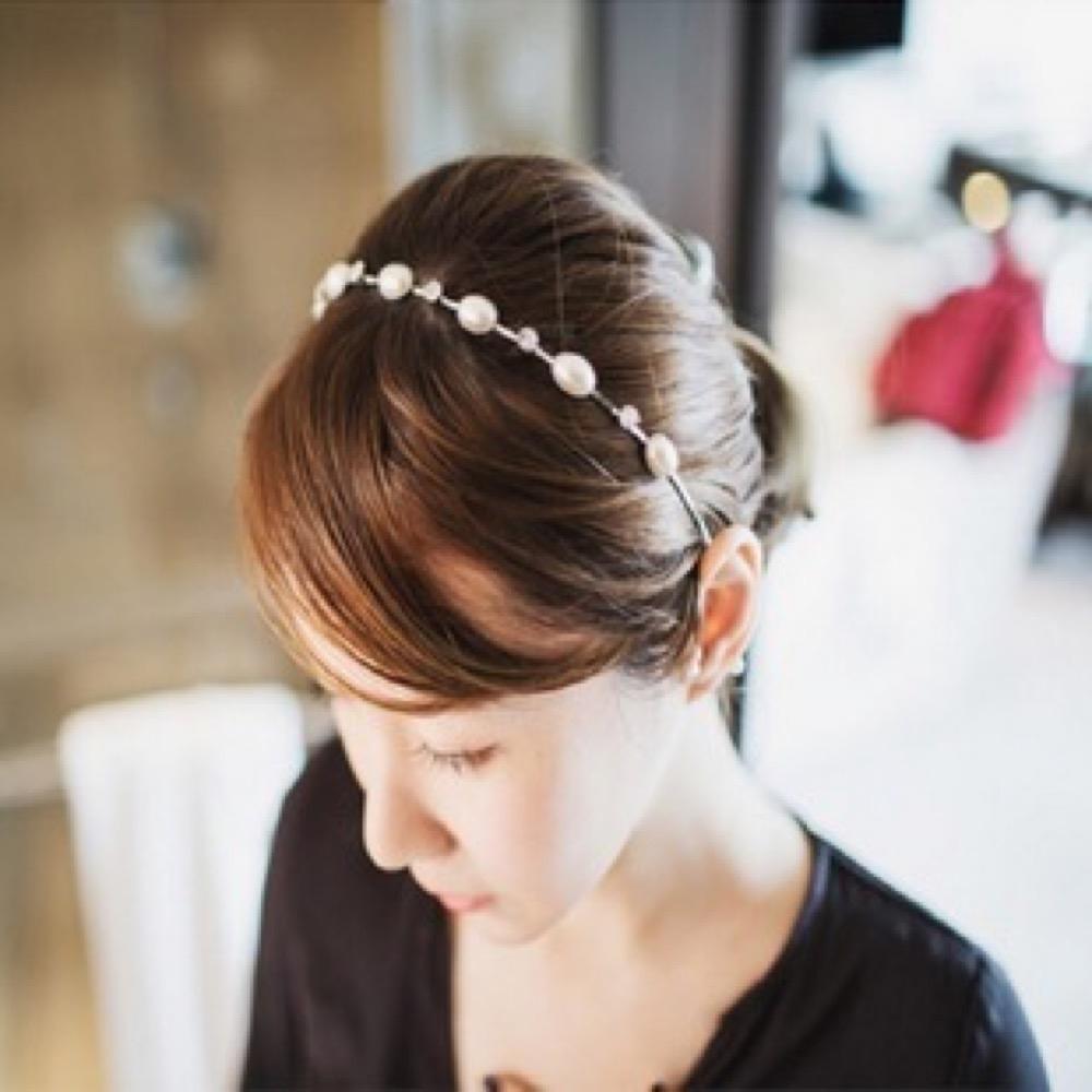 【89 zone】法式古典復古華麗珍珠時尚閃亮髮飾/髮箍 1 入 (銀色)