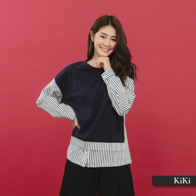 【KiKi】假兩件式條紋長袖-襯衫(紅色)