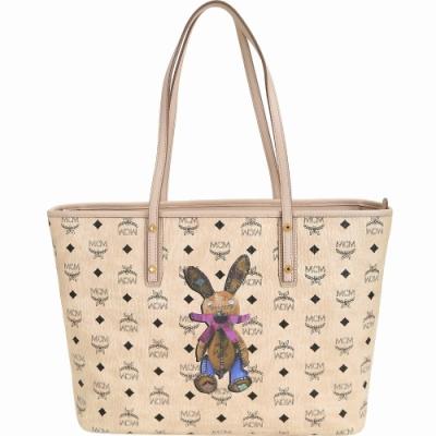 MCM Stark Rabbit 中款 兔子圖案購物包(附萬用包/米色)