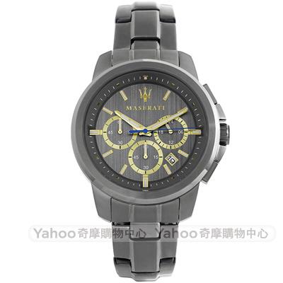 MASERATI 瑪莎拉蒂三眼計時手錶-鐵灰/44mm
