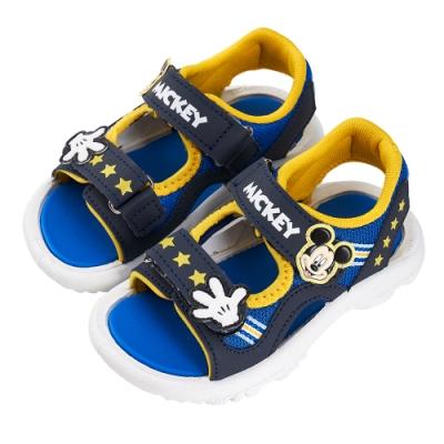 迪士尼童鞋 米奇 魔鬼氈造型涼鞋-藍(柏睿鞋業)