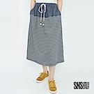 SNS 微漫夏日拼接條紋抽繩中長裙(2色)
