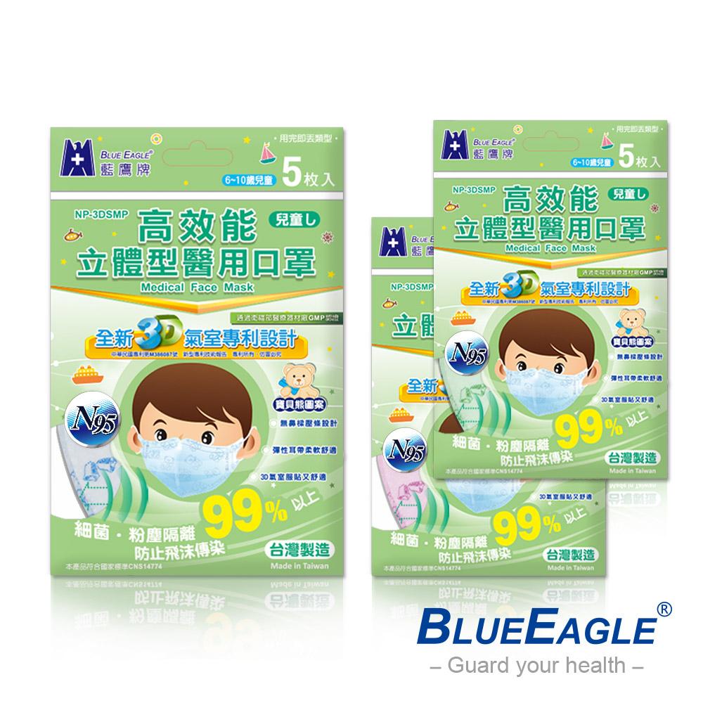 藍鷹牌 N95醫療口罩 6-10歲兒童立體型醫用口罩 5入x10包