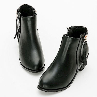 River&Moon大尺碼-韓系雙拉鍊微尖頭短靴-黑