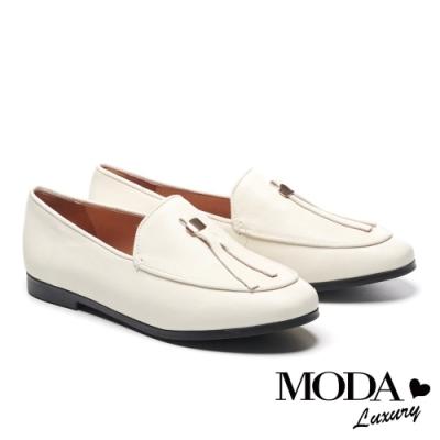 低跟鞋 MODA Luxury 復古文青條帶油蠟羊皮樂福低跟鞋-米