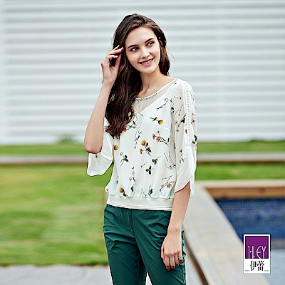 ILEY伊蕾 蕾絲造型七分袖印花上衣(白)