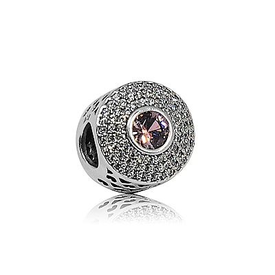 Pandora 潘朵拉 圓形粉紫色鋯石心型鏤空 純銀墜飾 串珠