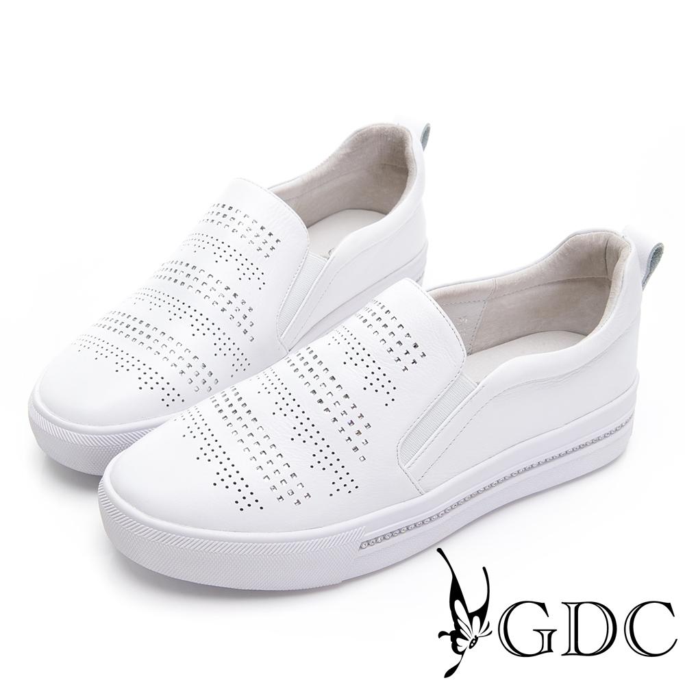 GDC-真皮素雅水鑽舒適基本款休閒鞋-白色