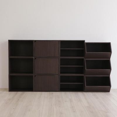 樂嫚妮 收納櫃/空櫃/書櫃-深胡桃木色3入組-42X28.2X28.8cm