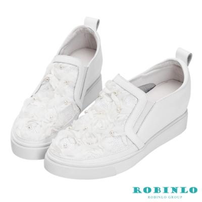 Robinlo 楓葉鑲鑽牛皮內增高休閒鞋 白色