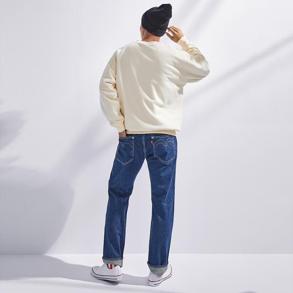 Levis Red 工裝手稿風復刻再造 男款 上寬下窄 502 Taper牛仔褲 深藍水洗 彈性布料