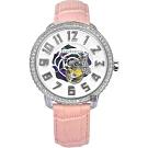 Tendence 天勢 晶鑽玫瑰小鏤空機械手錶-珍珠貝x粉紅/48mm TY492004