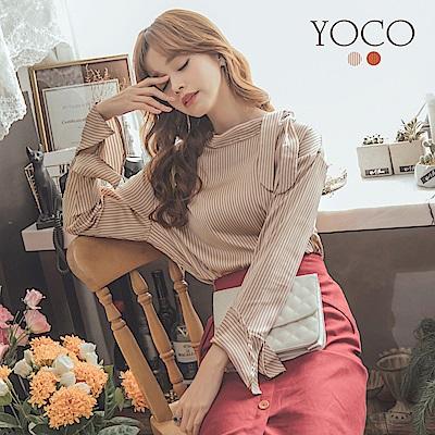 東京著衣-yoco 領口綁帶荷葉袖條紋上衣-S.M.L(共二色)