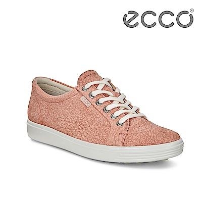 ECCO SOFT 7 W 骨瓷皮革紋路經典輕巧休閒鞋 女-粉紅