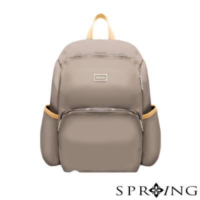 SPRING-未來系列尼龍防盜後背包-優雅灰棕