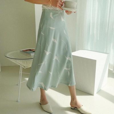 La Belleza鬆緊腰圍羽毛雪紡飄逸中長裙