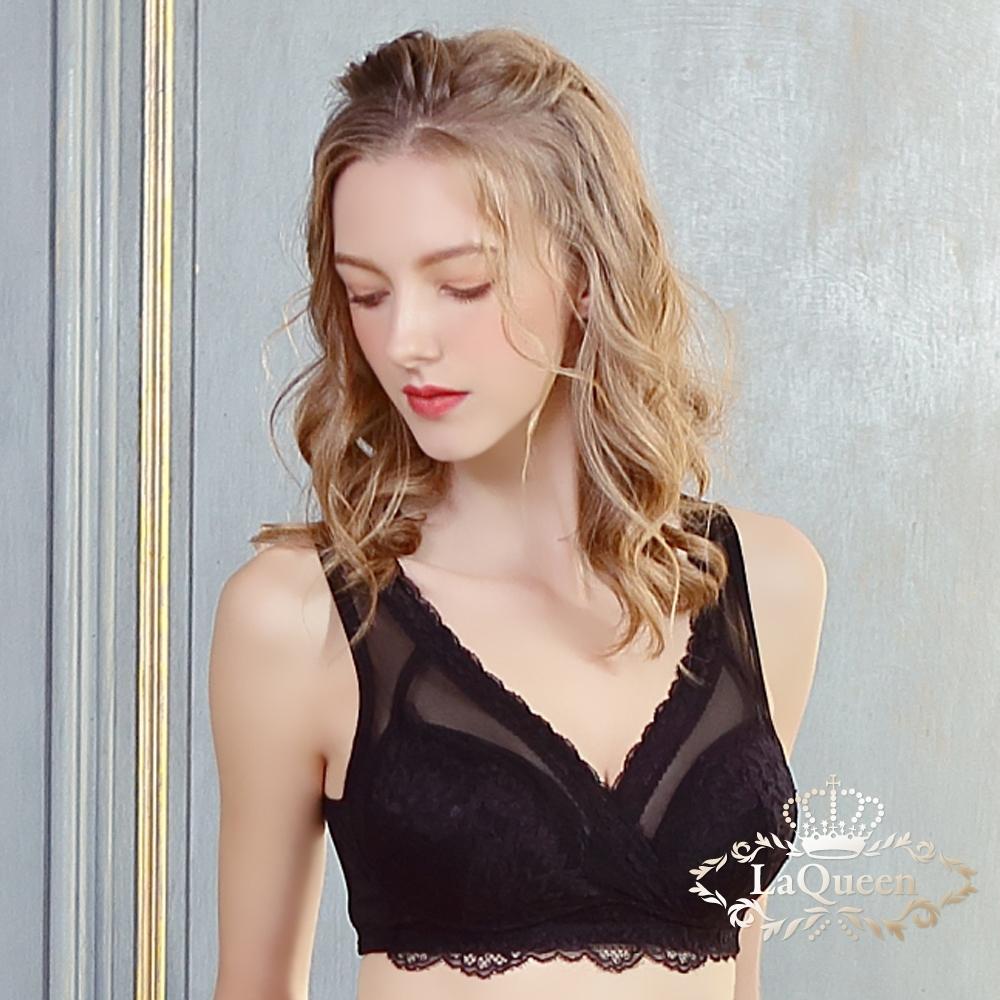 內衣 V型美胸包覆集中單上衣-黑 La Queen