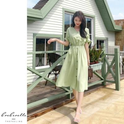 2F韓衣-韓系修身排扣素色造型洋裝-2色(S~2XL)