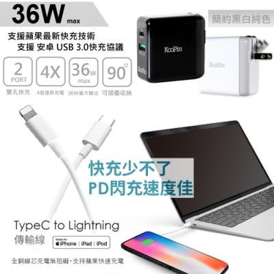 iPhone PD 閃電充電器(36W)+蘋果認證PD快充線