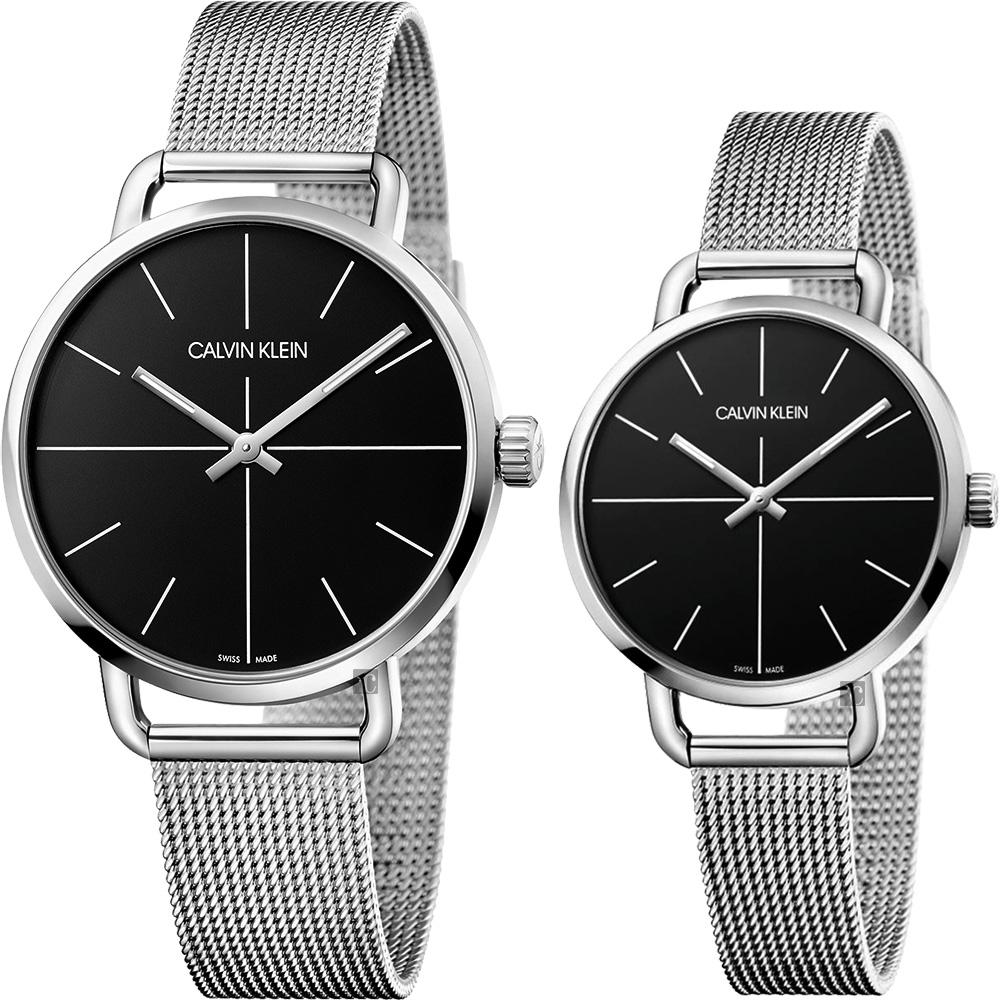 Calvin Klein CK Even 超然系列十字線米蘭帶對錶-黑x銀/42+36mm