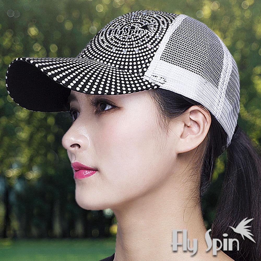 FLYSPIN 防曬圓點印花刺繡燙鑽網帽遮陽潮帽