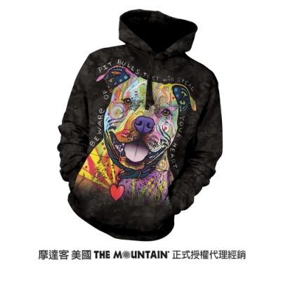 摩達客 美國進口The Mountain 彩繪比特犬 長袖連帽T恤