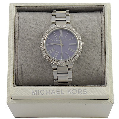 MICHAEL KORS 經典外圈水鑽不鏽鋼手錶(粉紫)