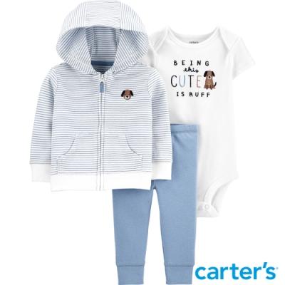 【Carter s】藍色條紋狗狗3件組套裝 (外套/包屁衣) (6M-12M)(台灣總代理)