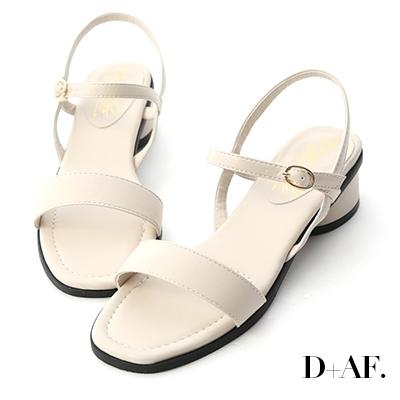 D+AF 韓國同步.一字繫踝橢圓跟涼鞋*米白