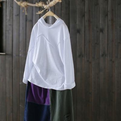 純棉拼接連帽T恤寬鬆顯瘦長袖內搭衫上衣-設計所在