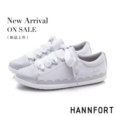 HANNFORT CALIFORNIA 閃耀柔美緞帶休閒鞋-女-銀