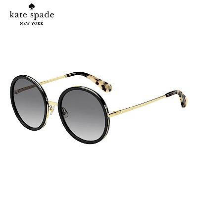 Kate Spade LAMONICA/S-率性圓框太陽眼鏡 黑色