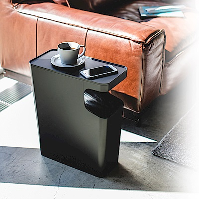 日本 YAMAZAK-tower兩用邊桌垃圾桶(黑)★居家用品/垃圾桶/置物架