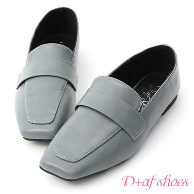 D+AF 獨創設計.斜方頭低跟樂福鞋*藍