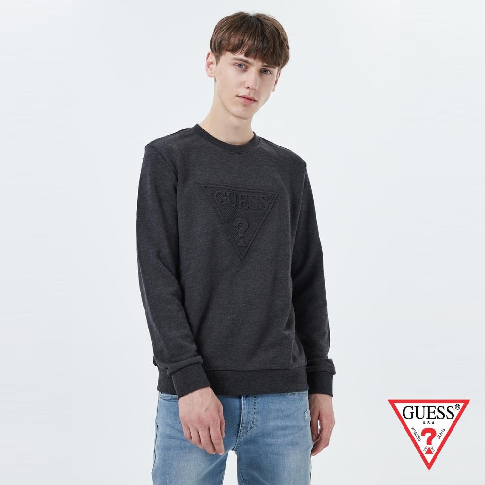 GUESS-男裝-經典LOGO壓印長袖T恤-深灰 原價2990