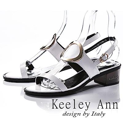 Keeley Ann 獨立性格~大金屬環全真皮中跟涼鞋(白色-Ann)