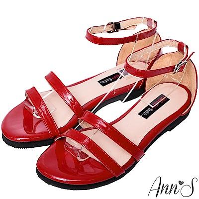 Ann'S安心走跳-三橫帶銀扣漆皮平底涼鞋-紅