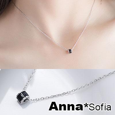 AnnaSofia 迷你圈黑晶 925純銀鎖骨鍊項鍊(銀系)