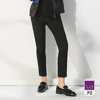 ILEY伊蕾 -10kg超彈力幾何緹花窄管褲(黑)